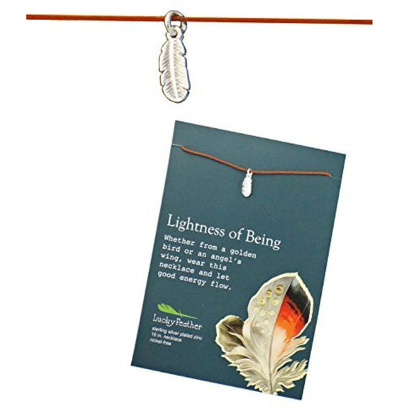 Lightness of Being Linen Cord Bird Charm inspirational Card Necklace