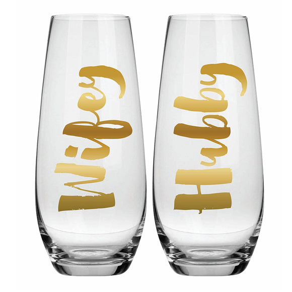 Hubby & Wifey Champagne Flutes