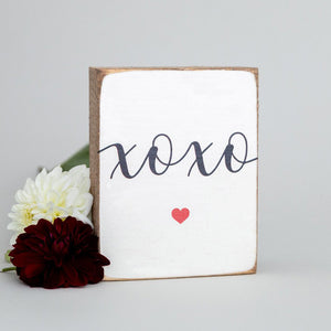 XOXO Heart Decorative Wooden Block