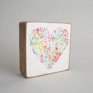 Floral Heart Decorative Wooden Block