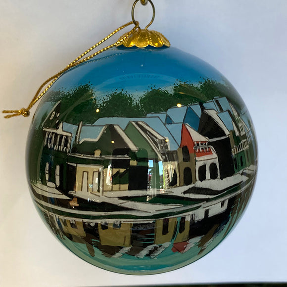 Boathouse Row at Snow Time Ornament