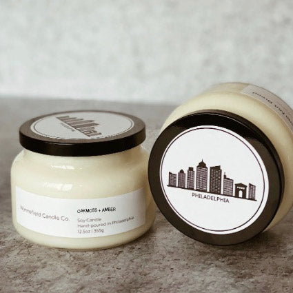 Philadelphia Themed Classic Jar -Oakmoss + Amber Candle