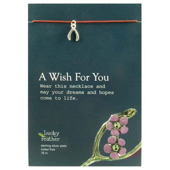 A Wish for You Charm inspirational Card Necklace
