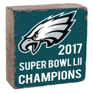 Super Bowl LII Champs Rustic Block