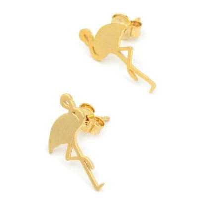 Gold Flamingo Stud Earrings