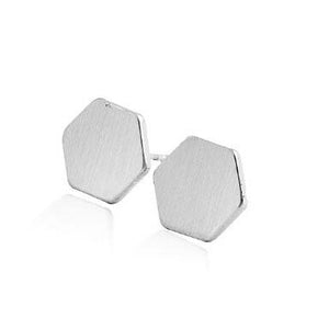 Silver Hexagon Stud Earrings