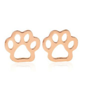 Rose Gold Paws Stud Earrings
