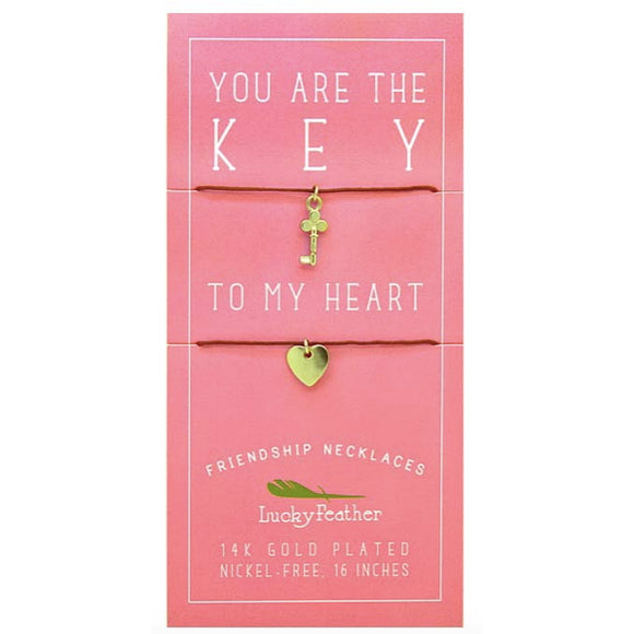 Friendship Necklace 14K Gold Dipped - Key to My Heart Necklace Set