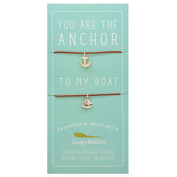 Friendship Necklace Sterling Silver Dipped - Anchor to My Boat