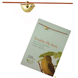 "Troubles Fly Away"" Linen Cord Bird Charm inspirational Card Necklace"