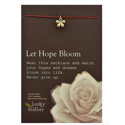Let it Bloom Linen Cord Bird Charm inspirational Card Necklace