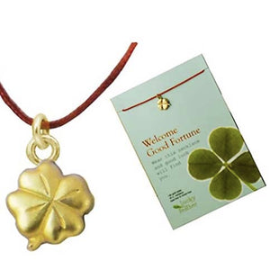 Welcome Good Fortune Shamrock Linen Cord Necklace Inspirational Message Card