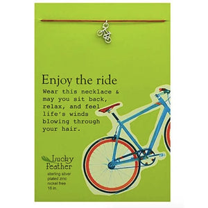 Enjoy the Ride Linen Cord Necklace Inspirational Message Card
