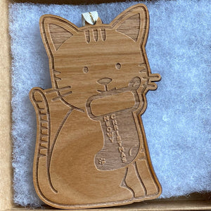 Cat Wood Ornament