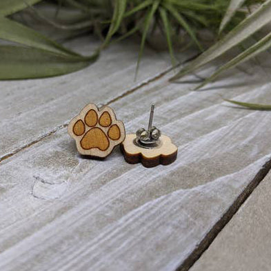 Natural Wood Paw Earrings