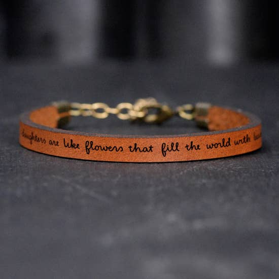 Daughters Flowers - Inspirational Leather Bracelet Jewelry