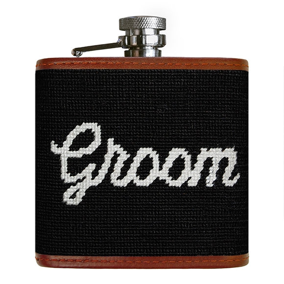 Groom Needlepoint Flask