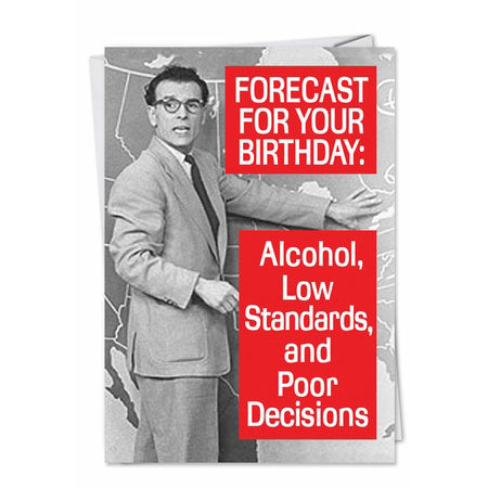 Forecast for Tonight - Funny Birthday Card