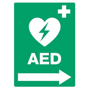 AED Located (Right Arrow) PVC Outdoor Sign