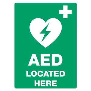 AED Located Here PVC Outdoor Sign