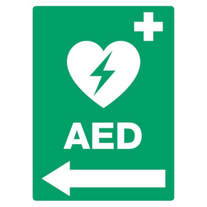 AED Located (Left Arrow) PVC Outdoor Sign