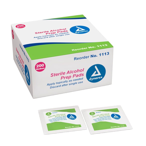Dynarex Alcohol Prep Pad Medium Size - Box 200 (1113)