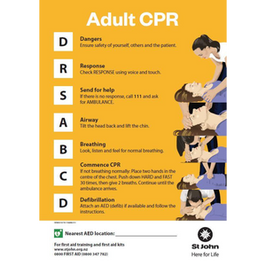 St John Adult CPR Poster A3