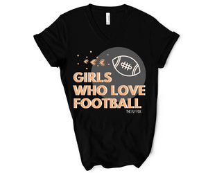 Girls Who Love Football Black V Neck