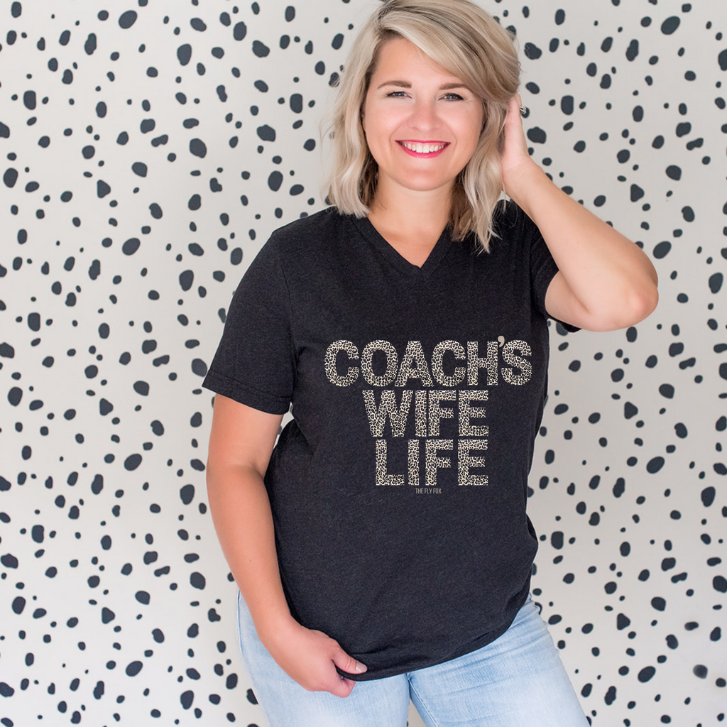 Coach's Wife Life Leopard V Neck Tee