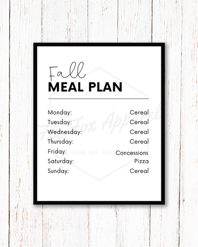 Fall Meal Plan (High School & College) PRINTABLE