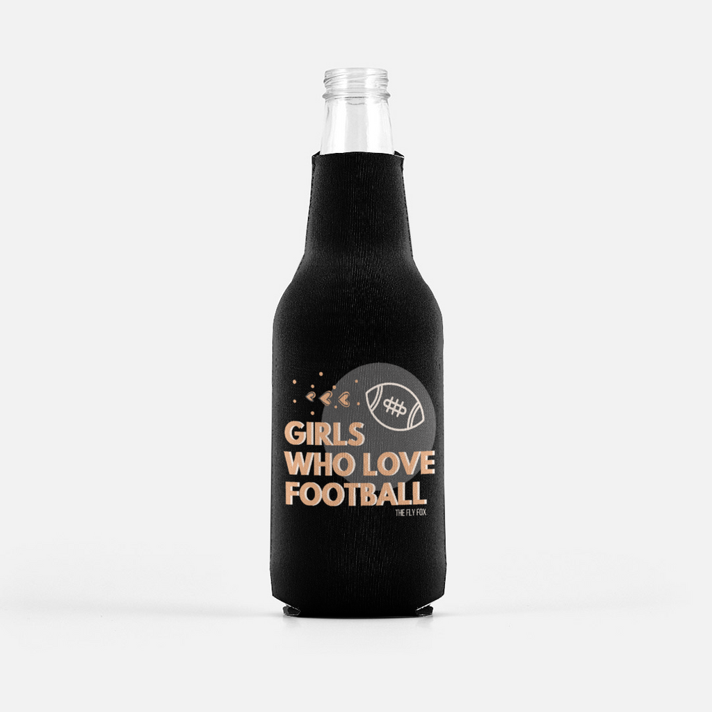 Girls Who Love Football Bottle Coozie