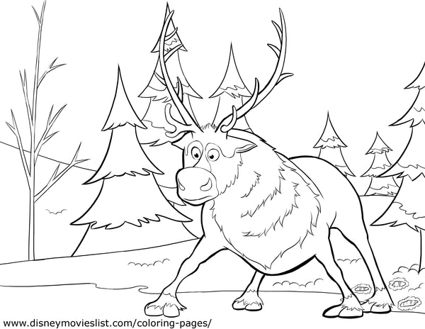 Printable Disney's Frozen Sven on Ice Coloring Page