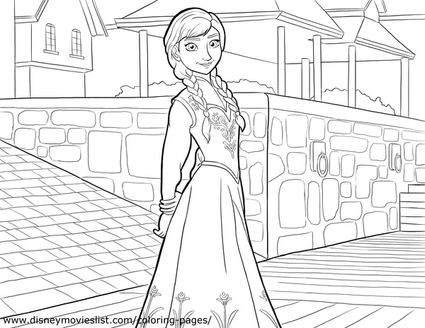 Printable Disney's Frozen Anna in Town Coloring Page