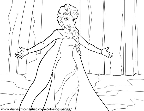 Printable Disney's Frozen Elsa in the Forest Coloring Page