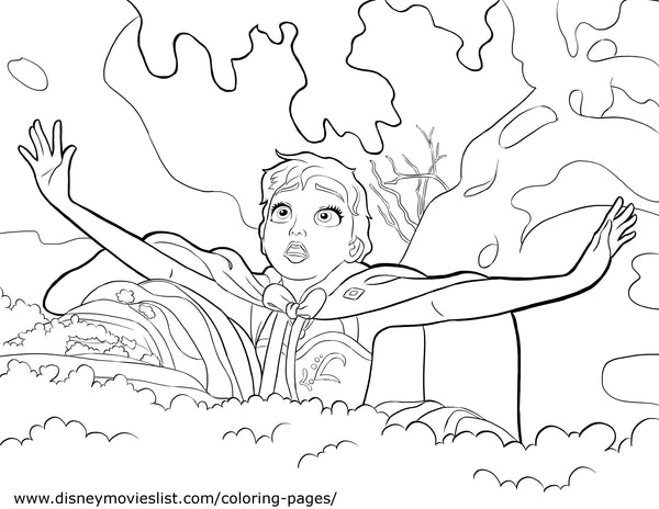 Printable Disney's Frozen Anna in Trouble Coloring Page