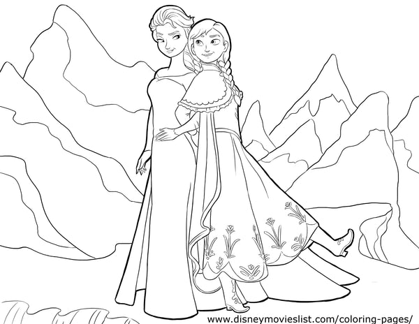 Printable Disney's Frozen Anna and Elsa Together Coloring Page