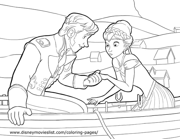 Printable Disney's Frozen Hans and Anna Coloring Page