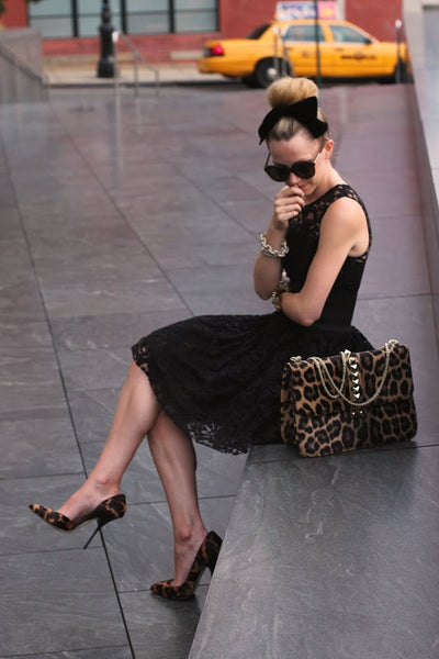 lace dress with animal print bag and shoes