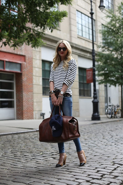 duffel bag with chic travel outfit