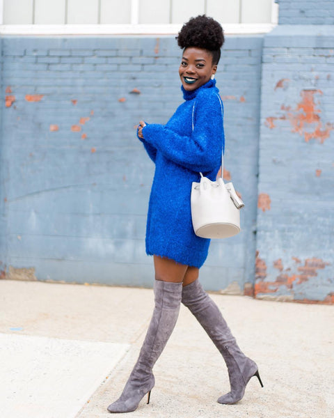 sweater dress with drawstring bag