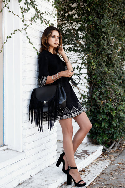 fringe bag with peasant dress