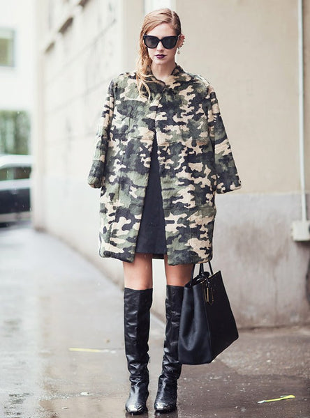 camo print coat with edgy urban outfit