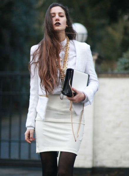 chain bag with classic black and white outfit