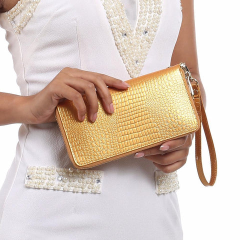 AOEO Crocodile Patterned Wristlet Wallet - BagPrime - Look Your Best with Amazing Bags