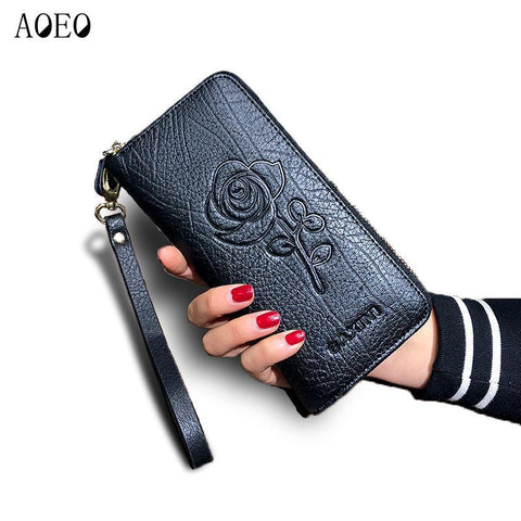 AOEO Floral Embossed Leather Wallet - BagPrime - Look Your Best with Amazing Bags