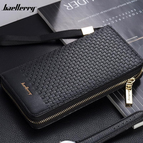 BAELLERRY Checkered Leather Wallet - BagPrime - Look Your Best with Amazing Bags