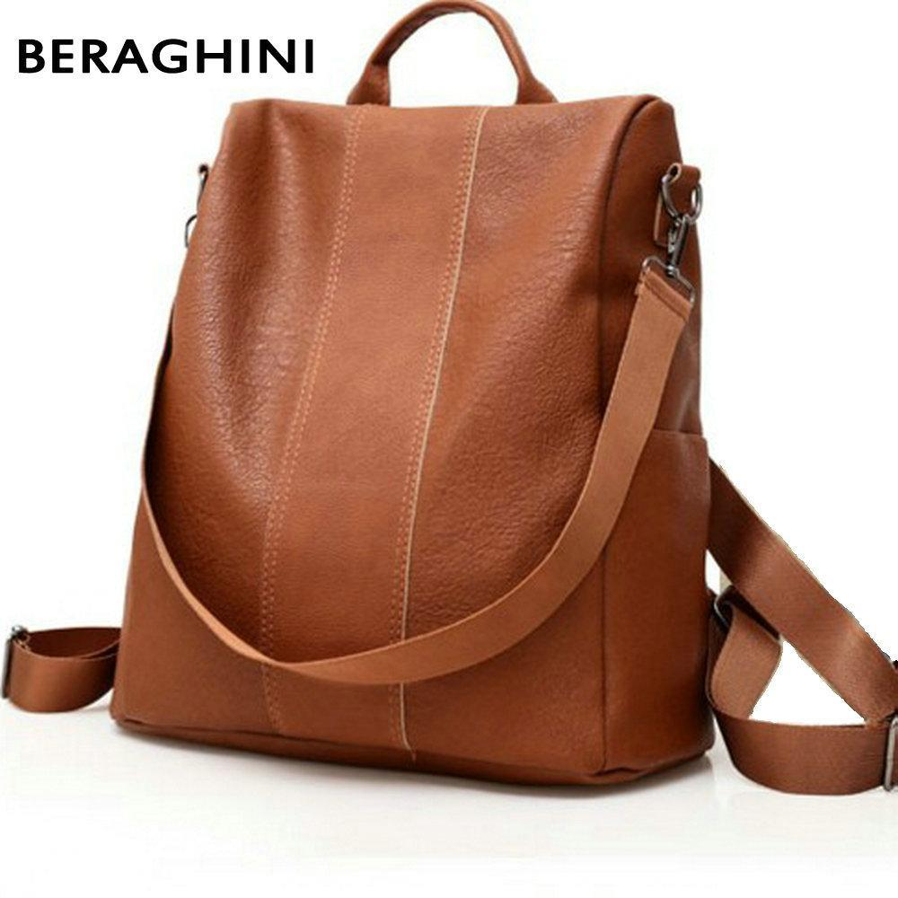 5f7416ac3497 BERAGHINI Retro Leather Backpack Shoulder Bag - BagPrime - Look Your Best  with Amazing Bags