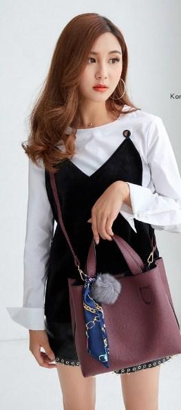 BOLISH Handbag with Scarf and Furball - BagPrime - Look Your Best with Amazing Bags