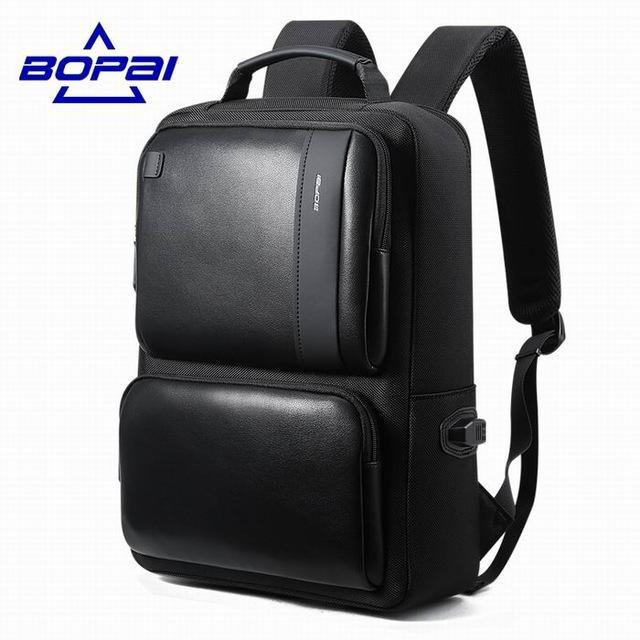 9bbdbb417c65 BOPAI Black Leather Backpack for 14   Laptop - BagPrime - Look Your Best  with