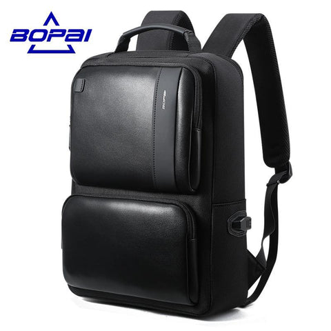 BOPAI Black Leather Backpack for 14'' Laptop - BagPrime - Look Your Best with Amazing Bags